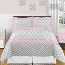 Zig Zag Pink and Gray Kids Comforter Set
