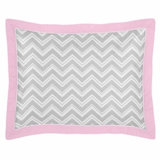 Zig Zag Pink and Gray Standard Size Pillow Sham