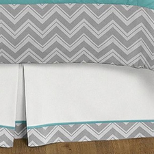 Zig Zag Turquoise and Gray Full/Queen Bed Skirt