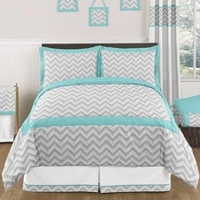 Zig Zag Turquoise and Gray Kids Comforter Set