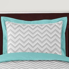 Zig Zag Turquoise and Gray Standard Size Pillow Sham