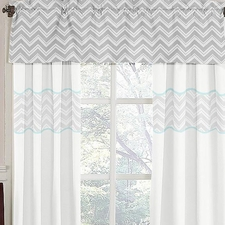 Zig Zag Turquoise & Gray Chevron Window Valance
