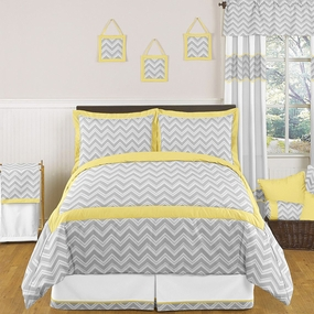 Zig Zag Yellow and Gray Kids Bedding Collection