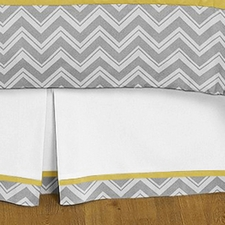 Zig Zag Yellow & Gray Full/Queen Bed Skirt