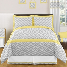 Zig Zag Yellow & Gray Kids Comforter Set