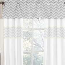 Zig Zag Yellow & Gray Chevron Window Valance