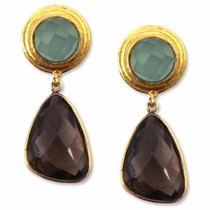 Adams Earrings - Chalcedony & Smoky
