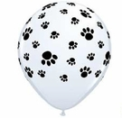 Black Paw Prints on White Balloon!