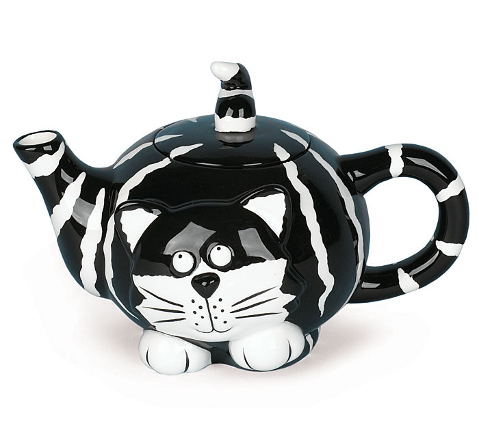 """Pet Pawties In A Box! Black and White Cat Teapot. The """"Chester Cat""""..."""