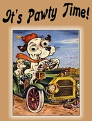 Cartoon DOG Party Invitation or Note Card (tan) from a Vintage Post Card!