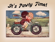 Cartoon DOGS Riding Motorcycles Party Invitation or Note Card from Vintage Post Card!