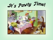 CAT Family  Birthday Party Invitation or Note Card from a Vintage Post Card!