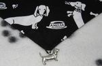 DACHSHUND's at Play Black and White Dog Bandana