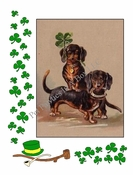 <center> DACHSHUNDS and Shamrocks Note Card for St. Patricks Day from Vintage Post Card! </center>