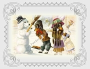 DACHSHUNDS Note Card in Snow with Snowman