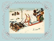 DACHSHUNDS Note Card of Sledding and Playing In the Snow