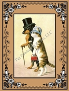 DOG and CAT Note Card featuring a Dachshund wearing a Top Hat!