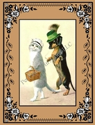 DOG and  CAT Note Card with a Dachshund wearing a Green Hat!
