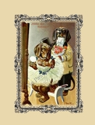 DOG Note Card featuring DACHSHUNDS dressed for Ballet from a Vintage Post Card!