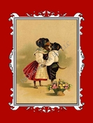 <center> DOG Note Card of Dachshunds Kissing  from a Vintage Post Card! </center>