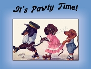 DOG Party Invitation or Note Card featuring a Dachshund Family Skating  (blue) from a Vintage Post Card!
