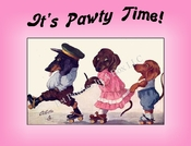 DOG Party Invitation or Note Card featuring a Dachshund Family Skating  (pink) from a Vintage Post Card!