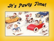 DOGS and Vintage Cartoon Cars Party Invitation or Note Card from a Vintage Post Card!