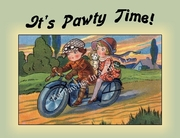 Motorcycle and Riders DOG Party Invitation or Note Card from Vintage Post Card!