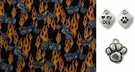 Motorcycles and Flames on Black DOG or CAT  Bandana