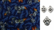 Motorcycles and Flames on Blue DOG or CAT Bandana