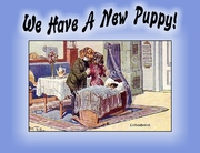 New Boy PUPPY Announcement or Note Card (blue)