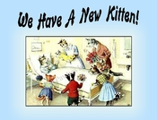 New KITTEN Announcement or Note Card (blue) from a Vintage Post Card!