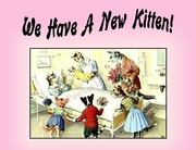 New KITTEN  Announcement or Note Card (pink) from a Vintage Post Card!