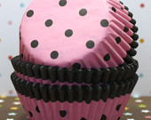 Polka Dot Pink and Black  Cupcake Liners!