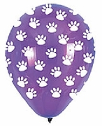 White Paw Prints on Purple Balloon!