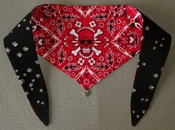 Red and White Skull Reversible Dog Bandana
