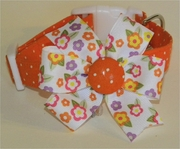 <center> White and Orange Dots and Retro Flowers Dog Collar </center>