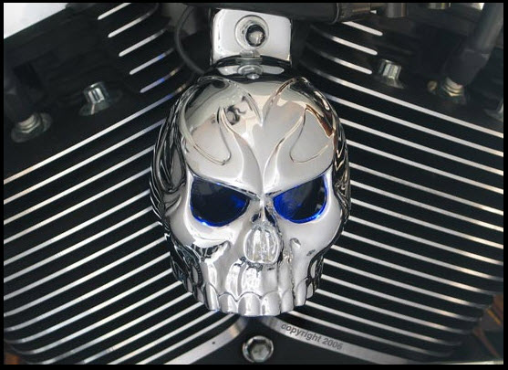 Evil Twin Chrome Skull Horn Cover With Led Eyes on Harley Hand Controls Wiring