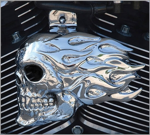 Flaming Skull - Chrome - LED