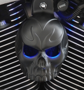 Satin Black Evil Twin Skull Horn Cover with LED