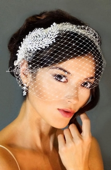 *Athena: Two Leaf Crystal Rhinestone Combs & Petite Birdcage Wedding Veil 27-F06726
