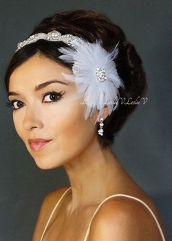 *Brooch Fascinator & Rhinestone Beaded Bridal Headband 111-F1