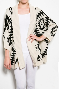 Comfy Cream and Black Sweater SW100CR