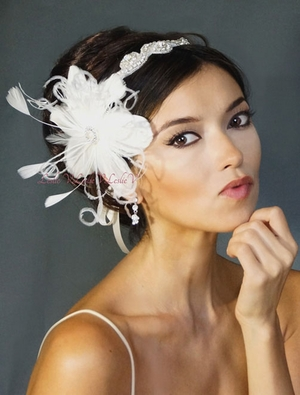 *Crystal Swirl Beaded Bridal Head Wrap & Feather Fascinator 111-F67