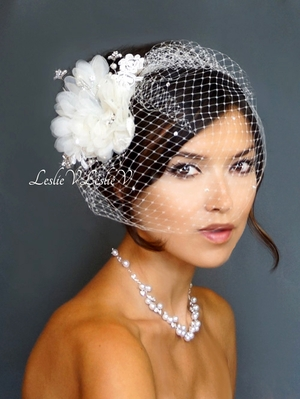 Floret Fascinator with Pearls/Crystals & Crystal Birdcage Veil 27-cf800