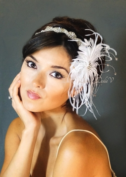 *Gisella: Rhinestone Beaded Head Wrap with Feather Fascinator