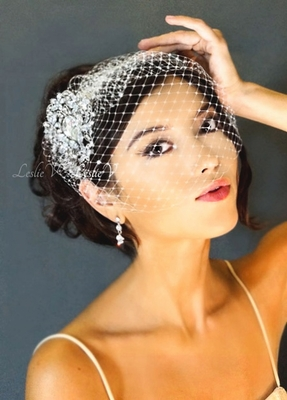 Grace: Large Crystal Brooch & Birdcage Wedding Veil 27-30738