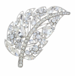 Large Crystal Leaf Brooch + Austrian Crystal Birdcage Veil Headpiece 27p-30969