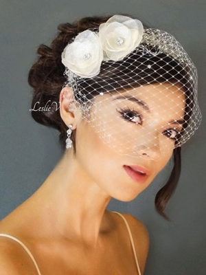 *Leah: Two Crystal Flower Fascinators & Petite Austrian Birdcage Veil 27-F19