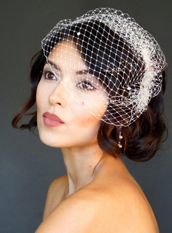 *Mirabell: Crystal Birdcage Veil Bridal 27s